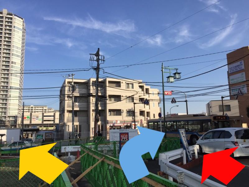 長津田駅南口再開発工事の様子(車道と歩道)