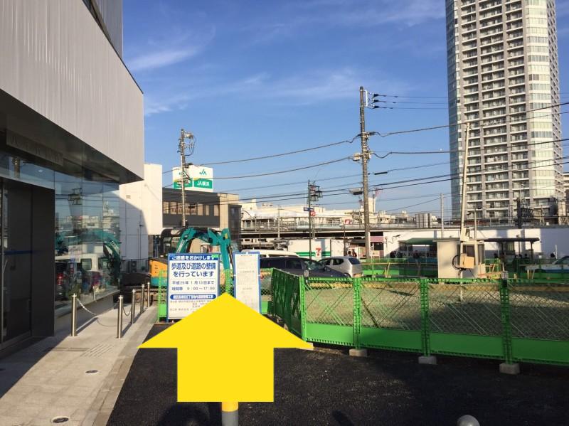 長津田駅南口再開発工事の様子(駅へのルート)