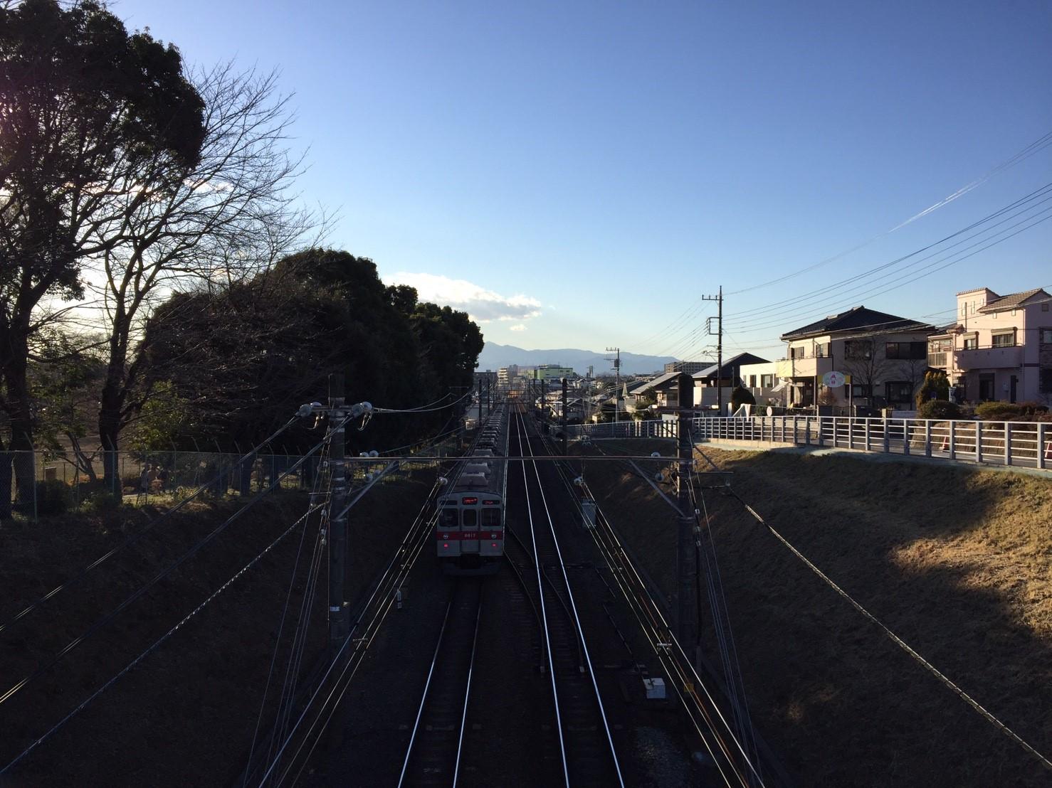 東急田園都市線を走る電車 (線路の左手は鶴間公園)