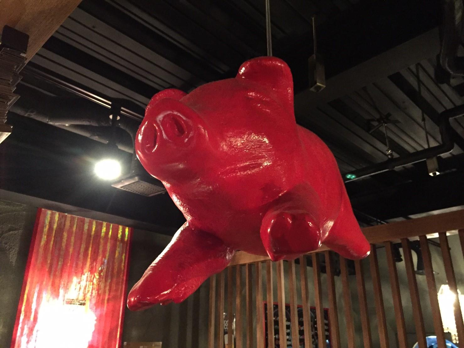 居酒屋『豚匠』の座敷にぶら下がる赤い豚のオブジェ